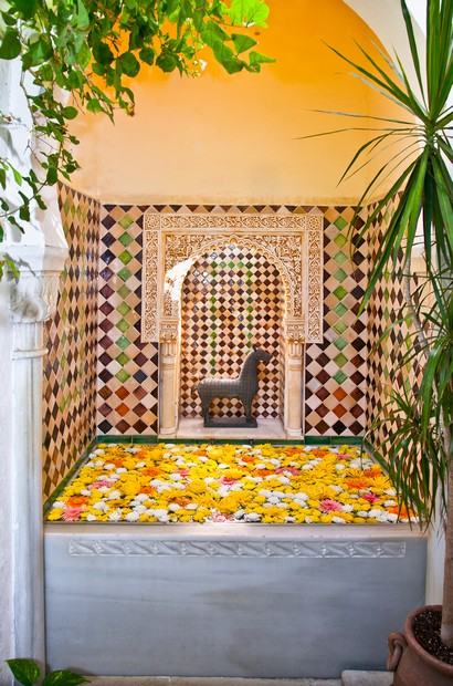 Typical arab spa with flowers in Cordoba, Spain.