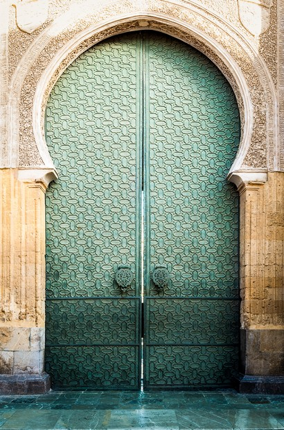 Door to Mezquita of Cordoba in Andalucia, Spain.